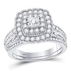 1 CTW Princess Diamond Bridal Wedding Ring 14kt White Gold - REF-136M4F