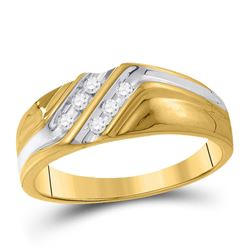 1/8 CTW Mens Round Diamond Wedding Band Ring 10kt Two-tone Gold - REF-28A2M