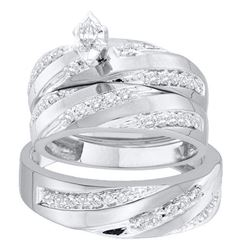 3/4 CTW His Hers Marquise Diamond Solitaire Matching Wedding Set 14kt White Gold - REF-95W5H