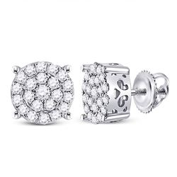 3/4 CTW Womens Round Diamond Cluster Earrings 10kt White Gold - REF-47X6T