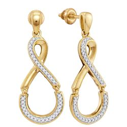 1/5 CTW Womens Round Diamond Dangle Earrings 10kt Yellow Gold - REF-27V3Y