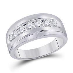 1/4 CTW Mens Round Diamond Wedding Band Ring 14kt White Gold - REF-32T7V