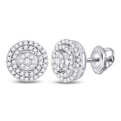 1/4 CTW Womens Round Diamond Circle Cluster Earrings 10kt White Gold - REF-29T9V