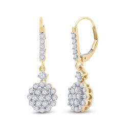 1 CTW Womens Round Diamond Flower Cluster Dangle Earrings 14kt Yellow Gold - REF-81V7Y