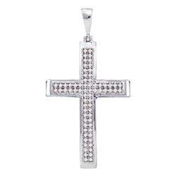 1/5 CTW Womens Round Diamond Medium Cross Pendant 10kt White Gold - REF-17M6F