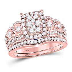 7/8 CTW Round Diamond Bridal Wedding Ring 14kt Rose Gold - REF-109V2Y