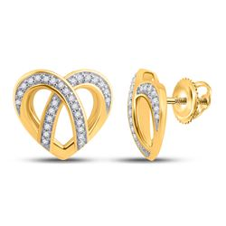 1/5 CTW Womens Round Diamond Heart Earrings 10kt Yellow Gold - REF-23X3T