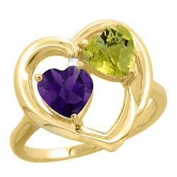 2.61 CTW Diamond, Amethyst & Lemon Quartz Ring 14K Yellow Gold - REF-33A5X