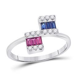 1/2 CTW Womens Baguette Blue Sapphire Modern Fashion Ring 14kt White Gold - REF-35A4M
