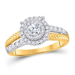 1 CTW Round Diamond Solitaire Bridal Wedding Engagement Ring 14kt Yellow Gold - REF-124Y6N