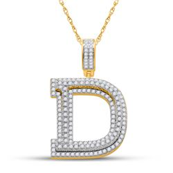 1 & 7/8 CTW Mens Round Diamond Initial D Letter Charm Pendant 10kt Yellow Gold - REF-129H5R