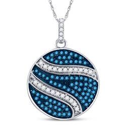 3/4 CTW Womens Round Blue Color Enhanced Diamond Circle Pendant 10kt White Gold - REF-31X4T