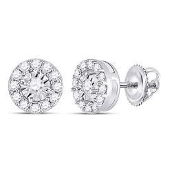 1/4 CTW Womens Round Diamond Stud Earrings 10kt White Gold - REF-21X8T