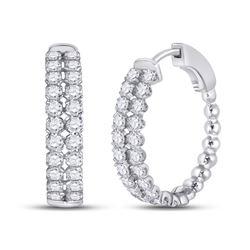 2 CTW Womens Round Diamond Double Row Hoop Earrings 14kt White Gold - REF-136R4X