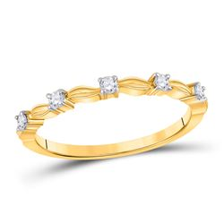 1/10 CTW Womens Round Diamond 5-Stone Stackable Band Ring 14kt Yellow Gold - REF-16V4Y
