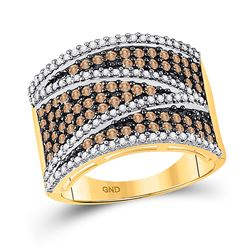 1 CTW Womens Round Brown Diamond Stripe Band Ring 10kt Yellow Gold - REF-44A4M
