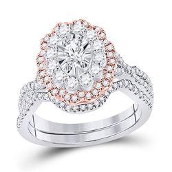 1 & 1/4 CTW Oval Diamond Bridal Wedding Ring 14kt Two-tone Gold - REF-177F3W