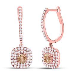 2 & 1/3 CTW Womens Round Brown Diamond Dangle Earrings 14kt Rose Gold - REF-190F8W