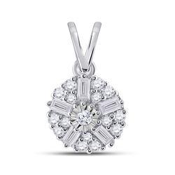 1/4 CTW Womens Baguette Diamond Cluster Pendant 14kt White Gold - REF-23Y3N
