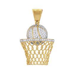 3/4 CTW Mens Round Diamond Basketball Hoop Net Charm Pendant 10kt Yellow Gold - REF-64N2A