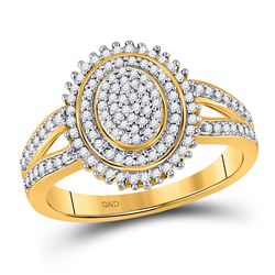 1/4 CTW Womens Round Diamond Oval Cluster Ring 10kt Yellow Gold - REF-30R7X