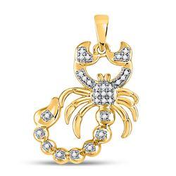 1/10 CTW Mens Round Diamond Scorpion Charm Pendant 10kt Yellow Gold - REF-17N6A