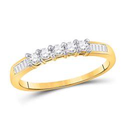 1/3 CTW Womens Round Diamond Wedding 5-Stone Anniversary Band Ring 10kt Yellow Gold - REF-21N8A