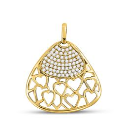 1/2 CTW Womens Round Diamond Heart Triangle Pendant 10kt Yellow Gold - REF-47N6A
