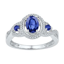 1 & 1/2 CTW Womens Oval Lab-Created Blue Sapphire 3-stone Ring 10kt White Gold - REF-27N3A