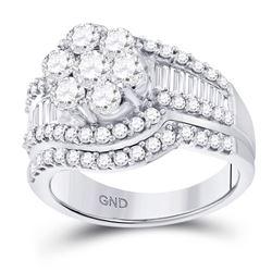 2 CTW Round Diamond Cluster Bridal Wedding Ring 14kt White Gold - REF-221A6M