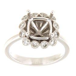 0.51 CTW Diamond Semi Mount Ring 14K White Gold - REF-69F7N