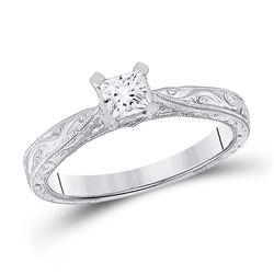1/2 CTW Princess Diamond Solitaire Bridal Wedding Engagement Ring 14kt White Gold - REF-92R3X