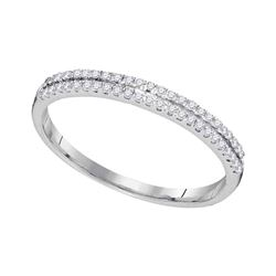 1/6 CTW Womens Round Diamond Slender Double Row Band Ring 10kt White Gold - REF-12M2F