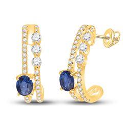 3/4 CTW Womens Oval Blue Sapphire Diamond J Hoop Earrings 14kt Yellow Gold - REF-38N2A