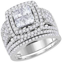 3 CTW Princess Diamond Bridal Wedding Ring 14kt White Gold - REF-272F6W