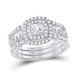 1 CTW Princess Diamond Solitaire Bridal Wedding Engagement Ring 14kt White Gold - REF-109T2V