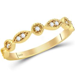 1/10 CTW Womens Round Diamond Classic Stackable Band Ring 14kt Yellow Gold - REF-21X8T