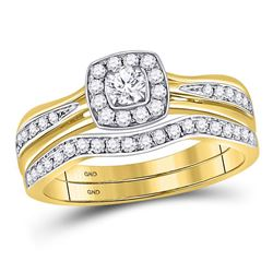 1/2 CTW Round Diamond Bridal Wedding Ring 14kt Yellow Gold - REF-70Y8N