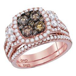 2 CTW Womens Round Brown Diamond Bridal Wedding Ring 14kt Rose Gold - REF-207R8X