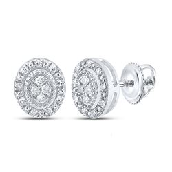 1/10 CTW Womens Round Diamond Oval Cluster Earrings 10kt White Gold - REF-13F5W