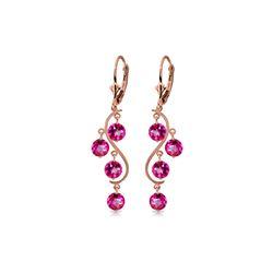 Genuine 4.95 ctw Pink Topaz Earrings 14KT Rose Gold - REF-55H2X