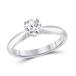 3/4 CTW Womens Round Diamond Solitaire Bridal Wedding Engagement Ring 14kt White Gold - REF-195Y2N
