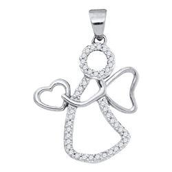 1/8 CTW Womens Round Diamond Guardian Angel Heart Pendant 10kt White Gold - REF-9F5W