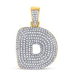 7/8 CTW Mens Round Diamond Bubble D Letter Charm Pendant 10kt Yellow Gold - REF-56R6X