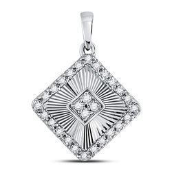 1/6 CTW Womens Round Diamond Diagonal Square Pendant 10kt White Gold - REF-17A6M