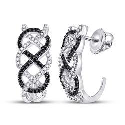 1/2 CTW Womens Round Black Color Enhanced Diamond Hoop Earrings 10kt White Gold - REF-34M3F