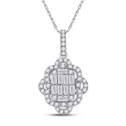 5/8 CTW Womens Baguette Diamond Quatrefoil Cluster Pendant 14kt White Gold - REF-61X4T