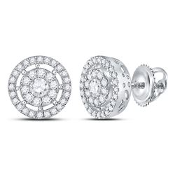 1 CTW Womens Round Diamond Cluster Earrings 14kt White Gold - REF-105A7M