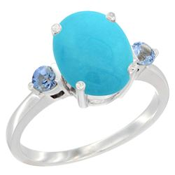 2.64 CTW Turquoise & Blue Sapphire Ring 14K White Gold - REF-38M2A