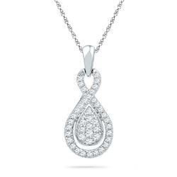 1/3 CTW Womens Round Diamond Teardrop Cluster Pendant 10kt White Gold - REF-24X5T